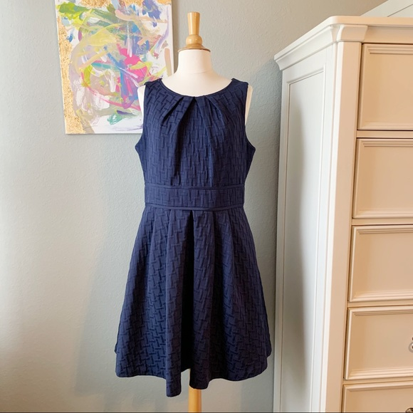 Eliza J Textured Pleated Fit and Flare Dress